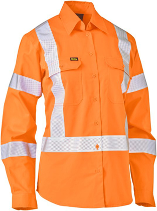 Picture of Bisley Workwear-BL6166XT-Womens Taped X Back Lightweight Hi Vis Drill Rail Shirt