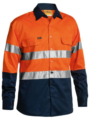 Picture of Bisley Workwear-BT6456-3M Taped Hi Vis Drill Shirt Long Sleeve