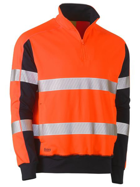 Picture of Bisley Workwear-BK6817T-Taped Hi Vis Stretchy Fleece Zip Pullover