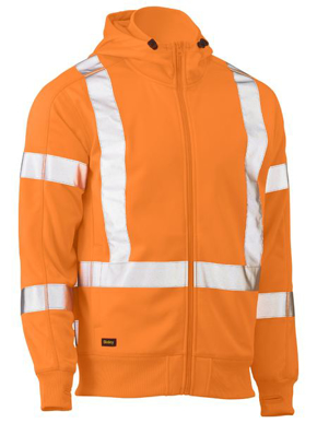 Picture of Bisley Workwear-BK6819XT-X Taped Hi Vis Zip Front Fleece Rail Hoodie