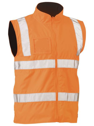 Picture of Bisley Workwear-BV0364T-Taped Hi Vis Rail Wet Weather Vest