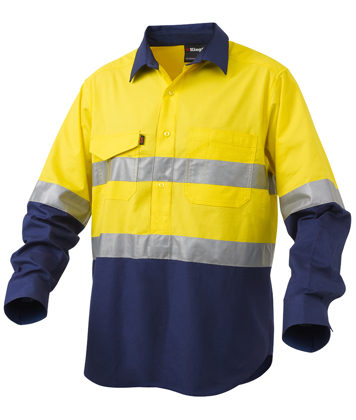 Picture of King Gee-K54886-Workcool 2 Reflective Spliced Closed Front Shirt L/S