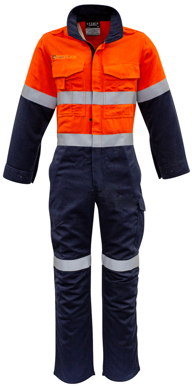 Picture of Syzmik Workwear-ZC525-Mens Orange Flame HRC 2 Hoop Taped Spliced Overall
