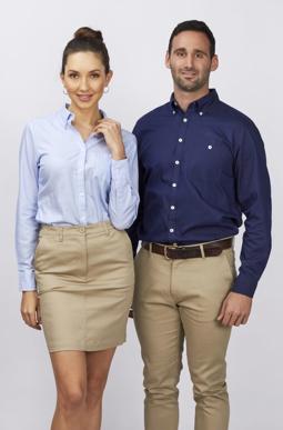 Picture of Identitee-W83(Identitee)-Ladies Brody 100% Cotton Indigo Twill Stripe Shirt