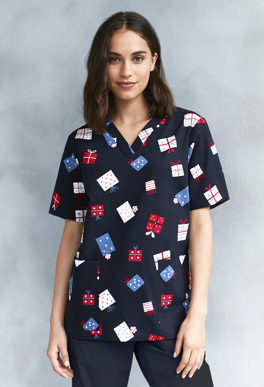 Picture of Biz Care - CST146LS(Mid) - Womens Christmas S/S V-Neck Scrub Top